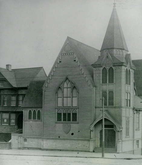 Second location of St. John's Presbyterian Church in 1888