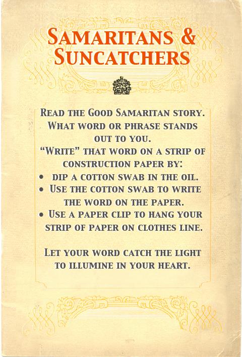 Interactive Prayer Stations On Good Samaritan Amp Love