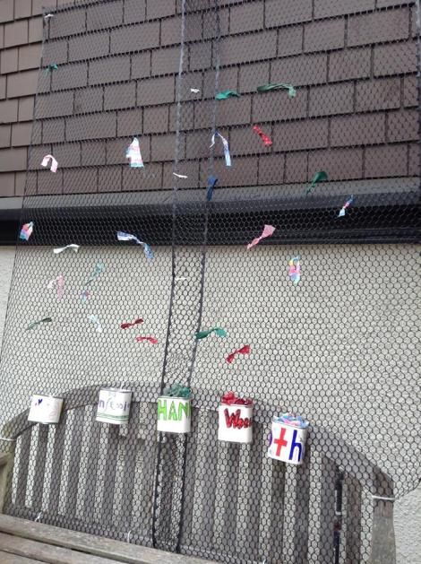 The ribbon prayer wall hung outside the church for a month.