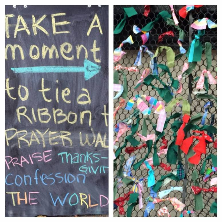 Passersby in the neighborhood were invited to add a prayer to ribbon prayer wall.
